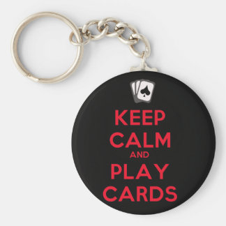Keep Calm and Play Cards Basic Round Button Keychain