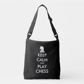Keep Calm And Play Chess black cross body tote bag