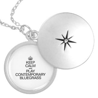 KEEP CALM AND PLAY CONTEMPORARY BLUEGRASS ROUND LOCKET NECKLACE