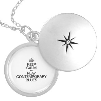 KEEP CALM AND PLAY CONTEMPORARY BLUES ROUND LOCKET NECKLACE