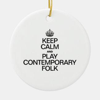 KEEP CALM AND PLAY CONTEMPORARY FOLK CHRISTMAS TREE ORNAMENTS