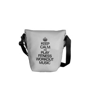 KEEP CALM AND PLAY FITNESS WORKOUT MUSIC MESSENGER BAG