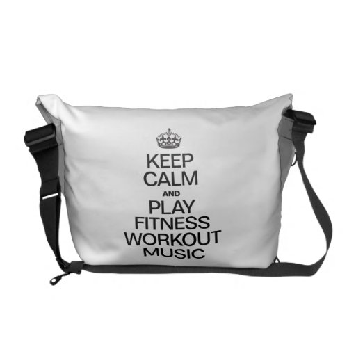 KEEP CALM AND PLAY FITNESS WORKOUT MUSIC MESSENGER BAGS