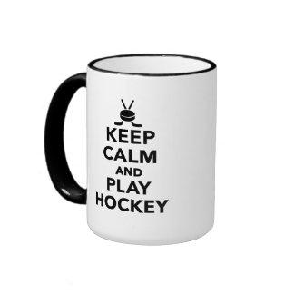 Keep calm and play Hockey Ringer Mug