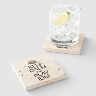 KEEP CALM AND PLAY IDM STONE BEVERAGE COASTER