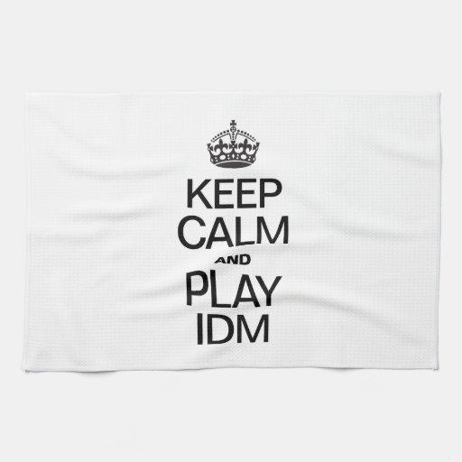 KEEP CALM AND PLAY IDM HAND TOWELS