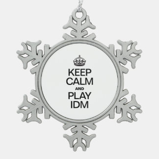 KEEP CALM AND PLAY IDM PEWTER SNOWFLAKE ORNAMENT