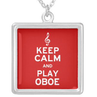 Keep Calm and Play Oboe Silver Plated Necklace