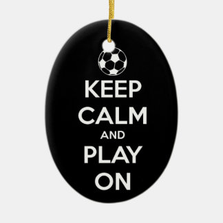 Keep Calm and Play On Black Oval Ornament