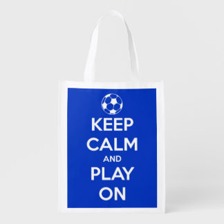 Keep Calm and Play On Blue and White Soccer Reusable Grocery Bag