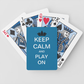 Keep Calm And Play On Custom Playing Cards (Blue)