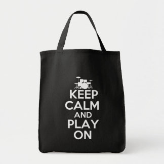 Keep Calm and Play On (Drums) Tote Bag