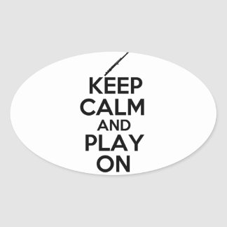 Keep Calm and Play On! (Flute) Oval Sticker