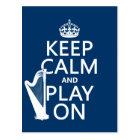 Keep Calm and Play On (harp)(any colour) Postcard