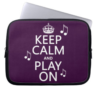 Keep Calm and Play on - music notes - all colours Laptop Sleeve
