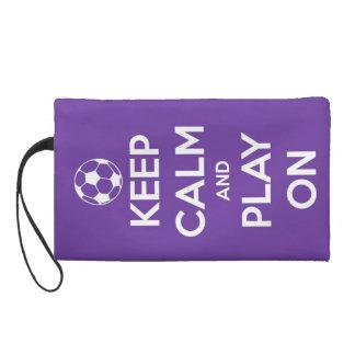 Keep Calm and Play On Purple Wristlet