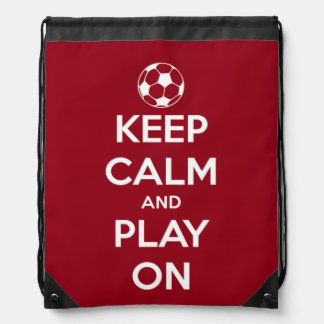 Keep Calm and Play On Red and White Drawstring Bag