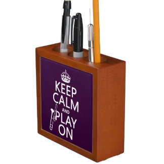 Keep Calm and Play On (Trombone)(any color) Desk Organizer