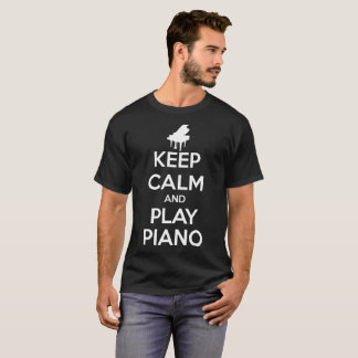 Keep Calm and Play Piano Music Men Black T-Shirt