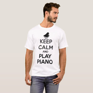 Keep Calm and Play Piano Music White T-Shirt