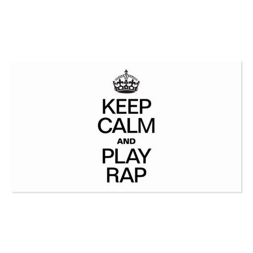 KEEP CALM AND PLAY RAP BUSINESS CARD TEMPLATE