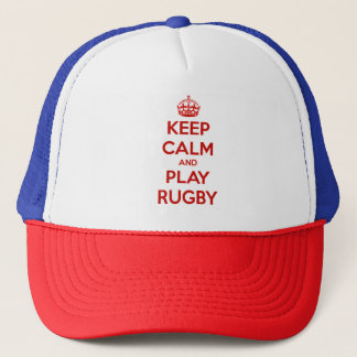 Keep Calm And Play Rugby Trucker Hat