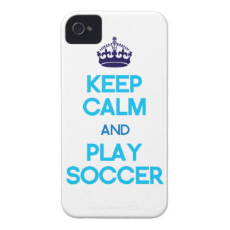 Keep Calm And Play Soccer (Blue) iPhone 4 Case-Mate Case