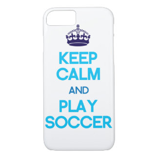 Keep Calm And Play Soccer (Blue) iPhone 7 Case