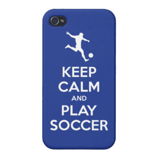 Keep Calm and Play Soccer (reflex blue) iPhone 4 Covers