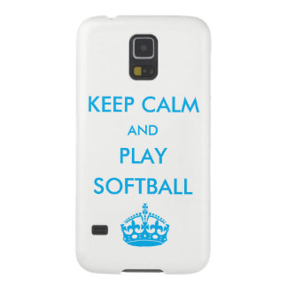 Keep Calm and Play Softball Galaxy S5 Cases