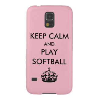 Keep Calm and Play Softball Galaxy S5 Covers