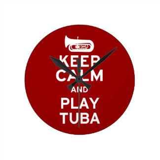 Keep Calm and Play Tuba Round Clock
