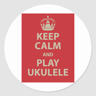 Keep Calm and Play Ukulele Classic Round Sticker