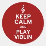 Keep Calm and Play Violin Round Sticker