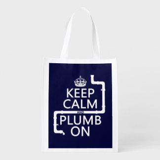 Keep Calm and Plumb On (plumber/plumbing) Reusable Grocery Bag