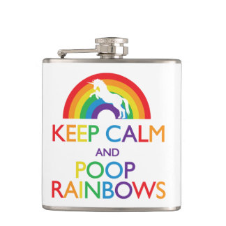 Keep Calm and Poop Rainbows Flask
