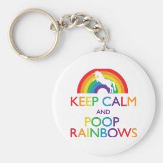 Keep Calm and Poop Rainbows Unicorn Basic Round Button Keychain
