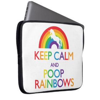 Keep Calm and Poop Rainbows Unicorn Laptop Sleeve