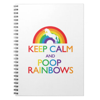 Keep Calm and Poop Rainbows Unicorn Notebooks
