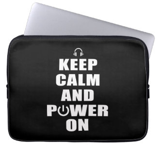Keep Calm and Power On Laptop Computer Sleeve