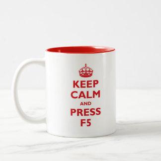 Keep Calm and press F5 Two-Tone Coffee Mug