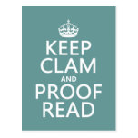Keep Calm and Proofread (clam) (any color) Post Card