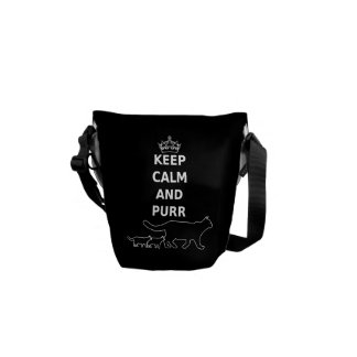 Keep Calm and Purr for cat lovers Messenger Bag