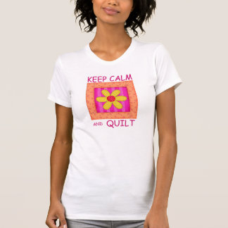 Keep Calm and Quilt Applique Flower Block T-Shirt