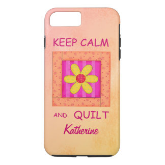 Keep Calm and Quilt Block Personalized Your Name iPhone 7 Plus Case
