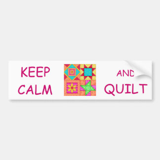 Keep Calm and Quilt Colorful Patchwork Blocks Bumper Sticker