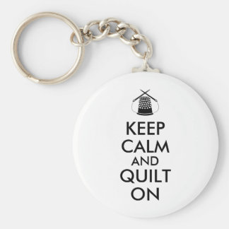Keep Calm and Quilt On Sewing Thimble Needles Key Chain