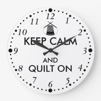 Keep Calm and Quilt On Sewing Thimble Needles Large Clock