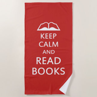 Keep calm and read books beach towel