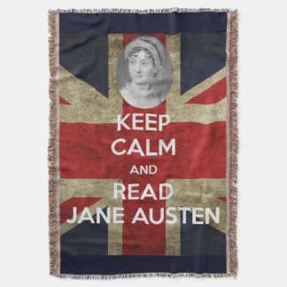 Keep Calm and Read Jane Austen with British Union Throw Blanket